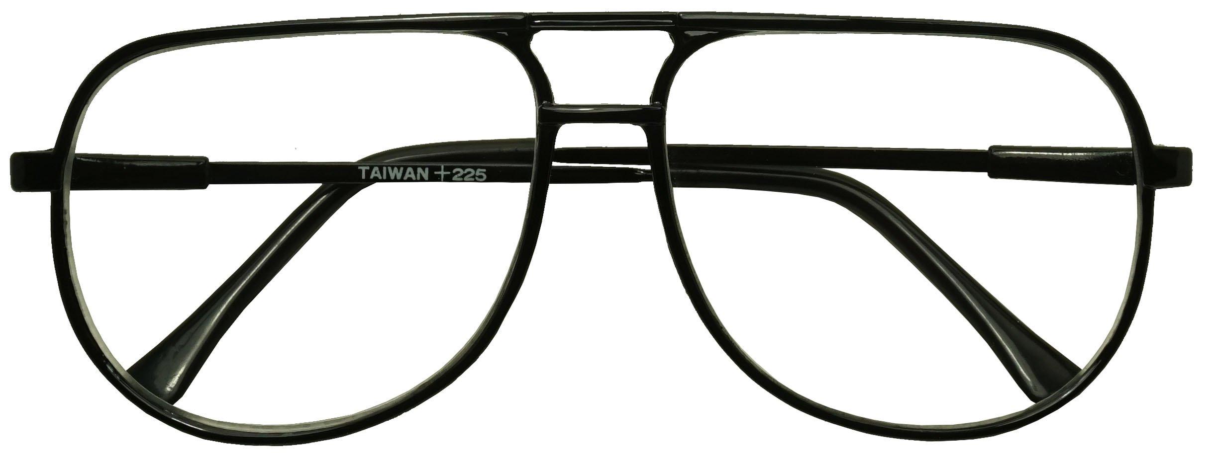 Classic 80s Vintage Oversized Optic Prescription Aviator Reading Eye Glasses Power +100 thru +325 (Black (Bi-Focal), 2.25)