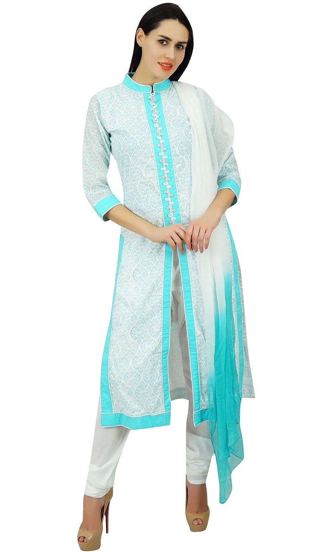 Atasi Frauen Baumwollgerade Kurta mit Dupatta gedrucktes Sommer Salwaar Kameez indischen ethnischen Anzug Kleid