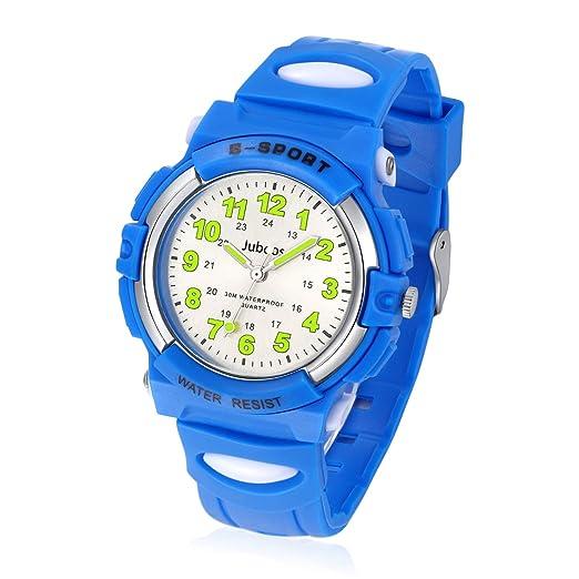 Relojes Niños, Reloj de Pulsera para Niños y Niñas Impermeable Reloj Deportivo de Cuarzo -Azul: Amazon.es: Relojes