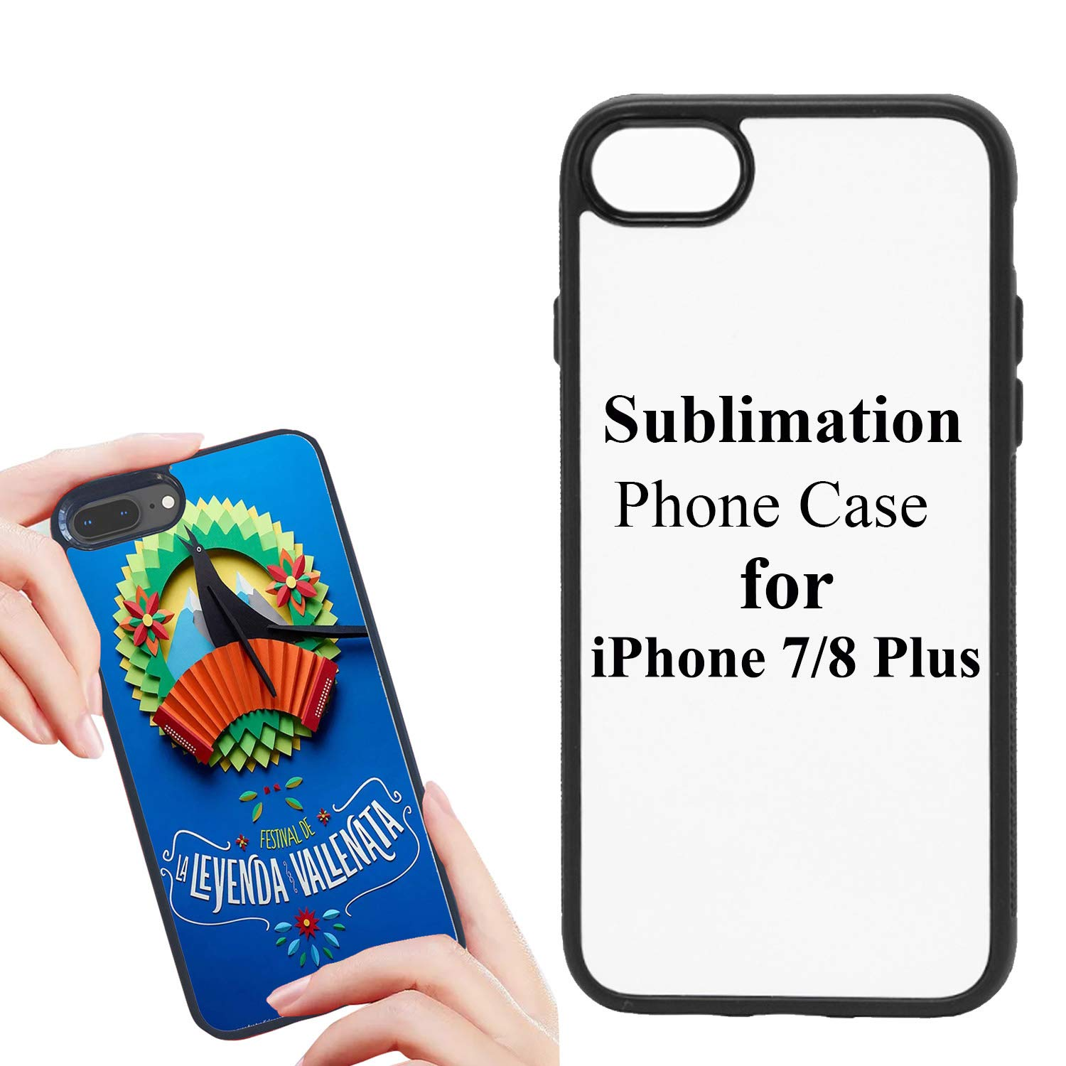 """JUSTRY 5 PCS Sublimation Blanks 2D Phone Case Covers Soft Rubber Compatible with iPhone 7/8 Plus, 5.5"""" Blank Cell Phone Protective Personalized Phone Case NO Glitter Finish"""