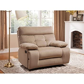Merveilleux Mercer Oversized Fabric Recliner With Storage And USB/Power