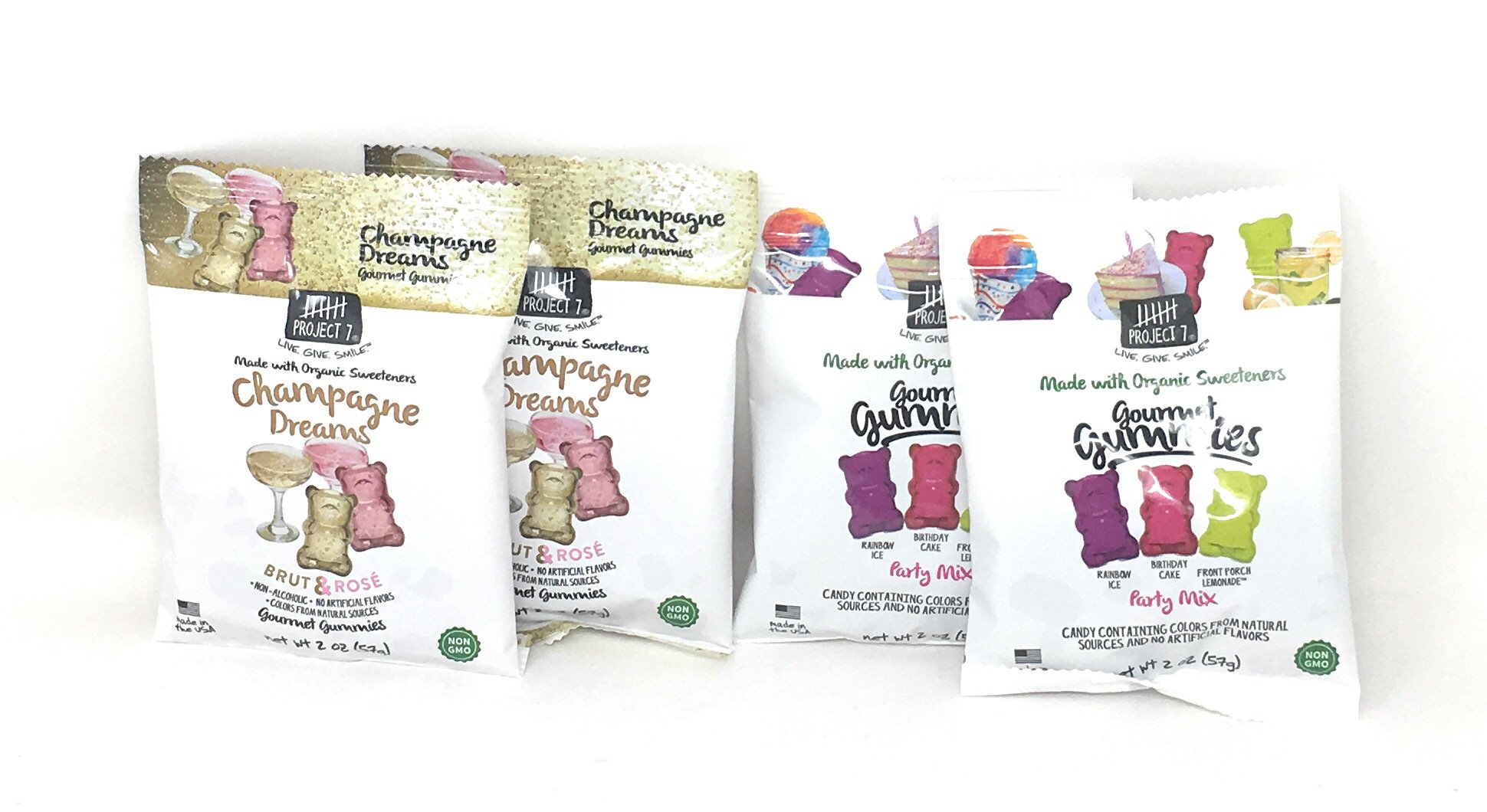 Project 7 Natural Gourmet Gummies Bundle of Four Two Ounce Bags: Two Each of Champagne Dreams and Party Mix (4 Bags)