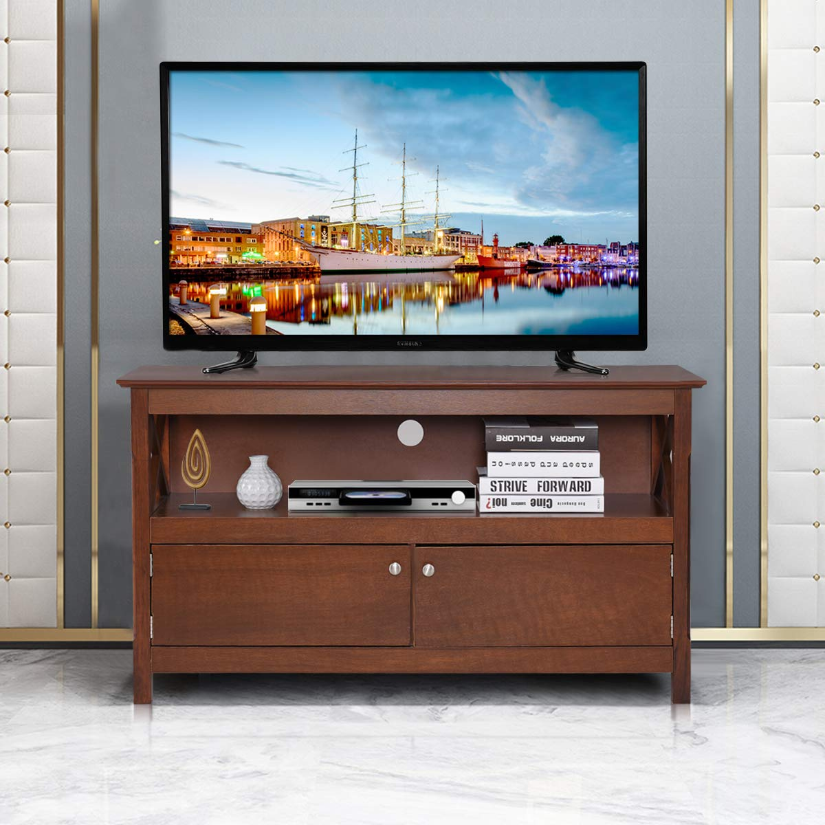 Tangkula Wood TV Stand, Modern Multipurpose Home Furniture Storage Console Entertainment Media Center (Coffee) by Tangkula