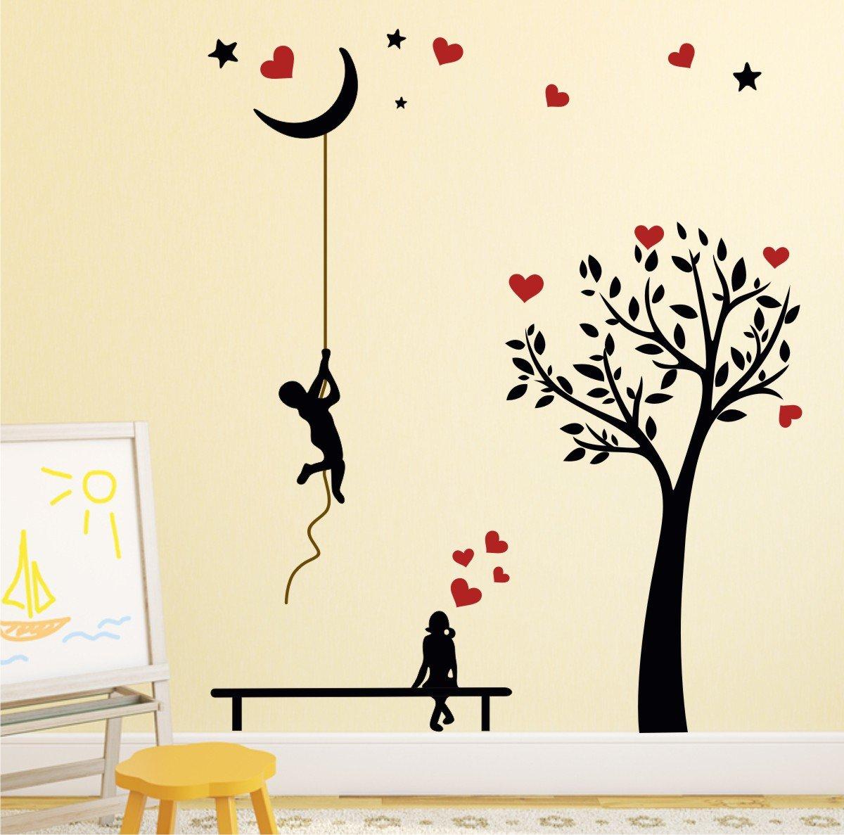 Buy Wallstick Black Tree Love Wall Sticker Vinyl 49 Cm X 4 Cm X 4 Cm Online At Low Prices In India Amazon In
