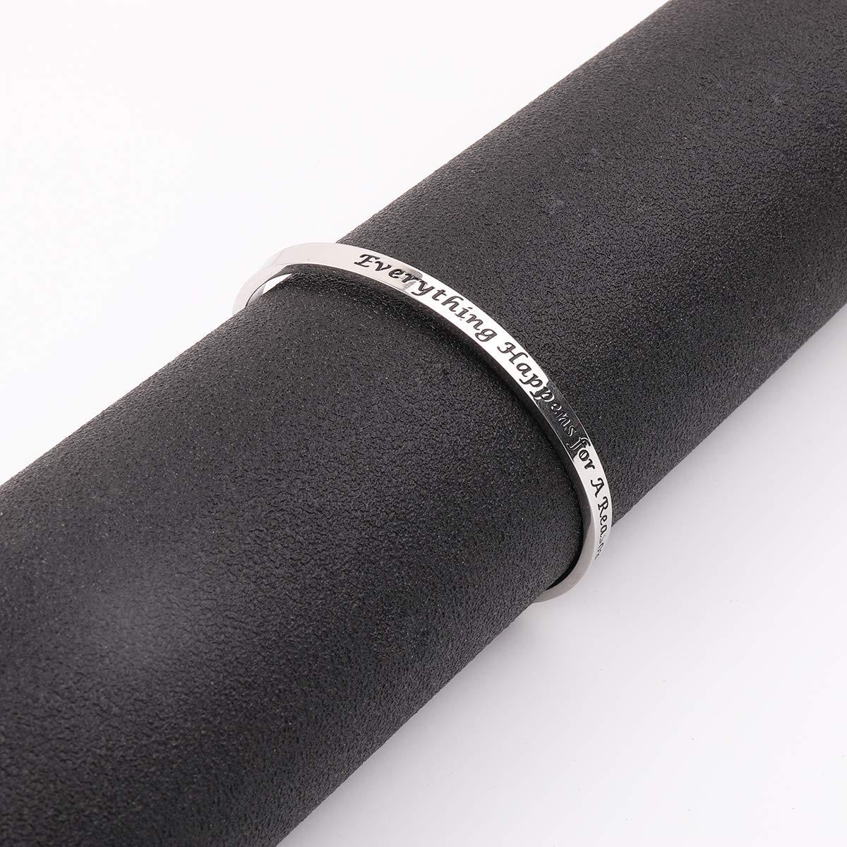 AZFEIYA Inspirational Bracelet Confidence Jewelry Motivational Cuff Bracelet Everything Happens for a Reason Encouragement Bracelet Personalized Birthday Gift (Silver Bracelet) by AZFEIYA (Image #5)