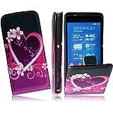 Für Sony Xperia Z3 Compact Tasche Flip Case PU Leder Vertikaltasche Funktiontasche Handytasche Flip Style Schutzhülle in Heart/Herz Design