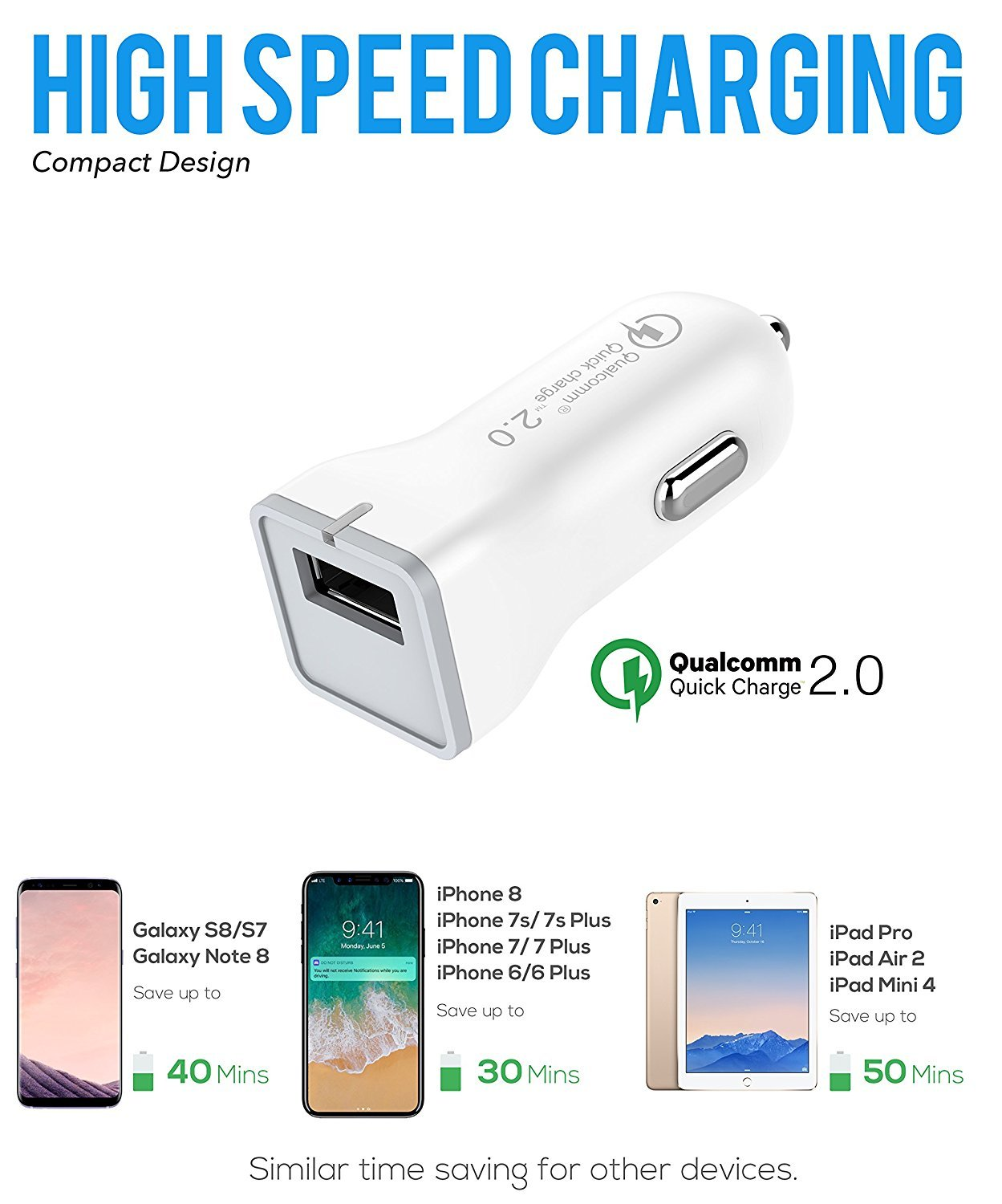 Note 9 USB Type-C Cable Adaptive Fast Wall Charger Samsung Galaxy S9, Galaxy S9 Plus, Galaxy S8, LG G6 G5 V30 V20, Google Pixel 2, Nexus 5X 6p, GoPro5 ...