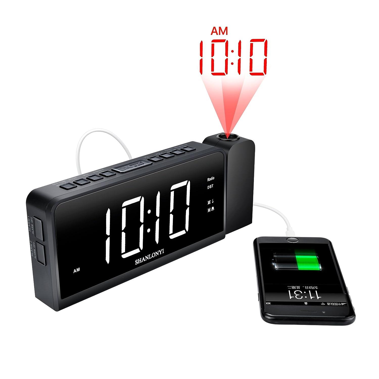 Amazoncom SHANLONYI Projection Alarm Clock Radio AMFM