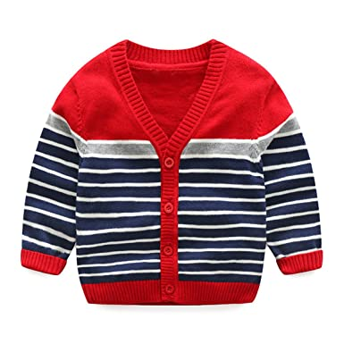 a81b7a51f Baby Little Boys Kids Casual Knitted Long Sleeve Stripe V Neck ...