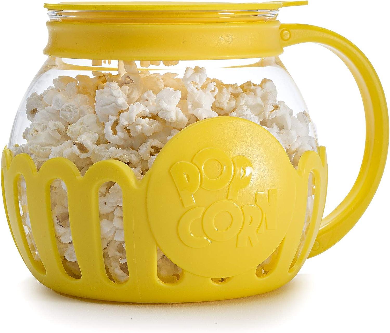 Ecolution Original Microwave Micro-Pop Popcorn Popper, Borosilicate Glass, 3-in-1 Lid, Dishwasher Safe, BPA Free, 1.5 Quart Snack Size, Yellow
