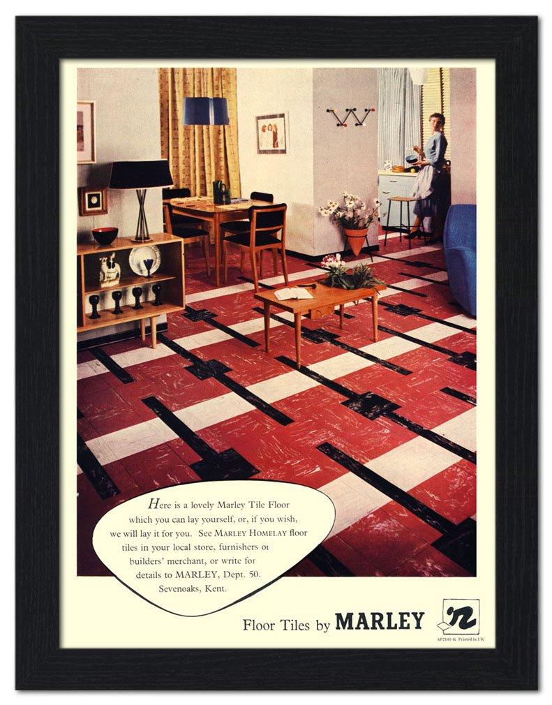 Marley Floor Tiles 1950s Home Framed Print 32x42cm Black Amazon