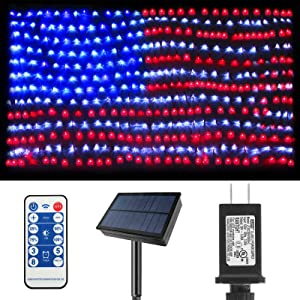 MZD8391 Solar American US Flag Lights [Plug in & Solar 2 Power Way], 420 LEDs Waterproof USA Flag Net Lights, 6.54Ft X 3.28Ft Solar Lights for Garden, Yard, 4th of July, Independence Day Decoration