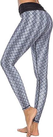 Mint Lilac Womens High Waist Printed Yoga Pants Full-Length Tummy Control Workout Leggings
