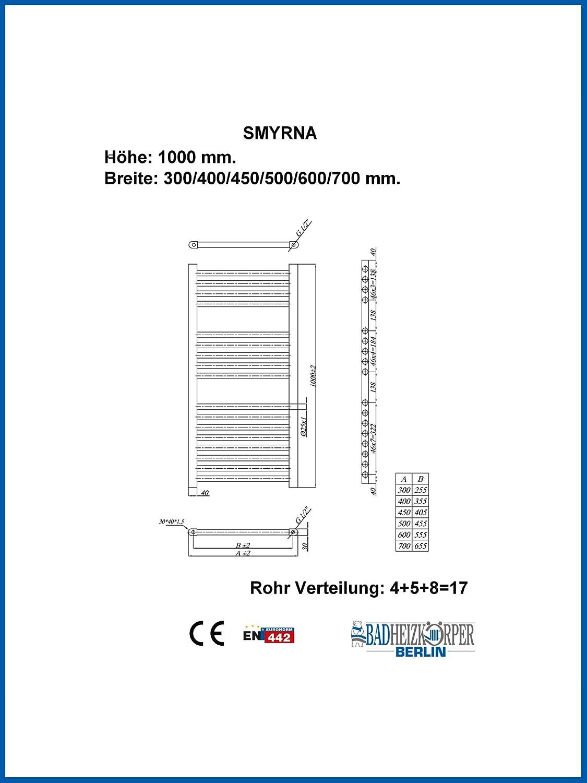 Badheizk/örper SMYRNA Wei/ß 600 x 1000 mm Gerade Handtuchtrockner Handtuchw/ärmer