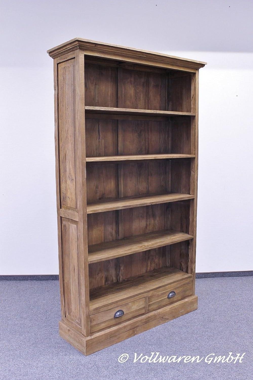 TEAK KONTOR BÜCHERREGAL 200x116x37cm Teakholz antik Bibliothek Regal Bücherschrank