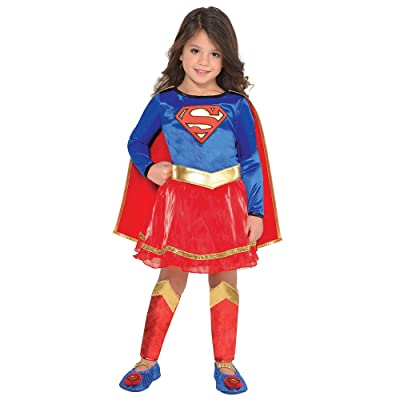 Suit Yourself Classic Supergirl Halloween Costume for Toddler Girls, DC's Superman Family, 3-4T, Includes Accessories: Clothing