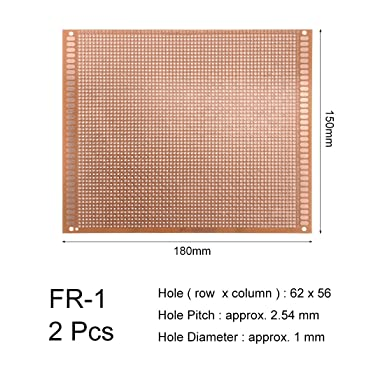 uxcell/® 9x15cm Single Sided Universal Paper Printed Circuit Board for DIY Soldering Brown 2pcs