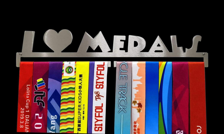 Porta medaglie Sportive con Scritta I Love Medal Hangers in Acciaio Inox da Parete