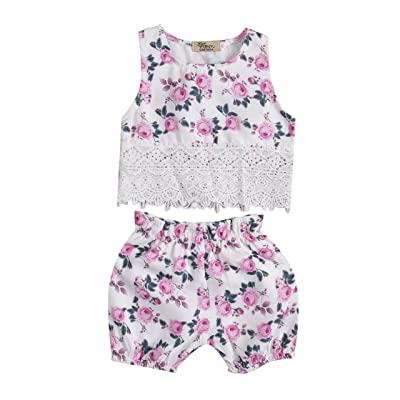 2 Pcs Set Baby Girls Sleeveless Floral Lace Outfits Clothes Crop Tops Vest Shorts Pants Set