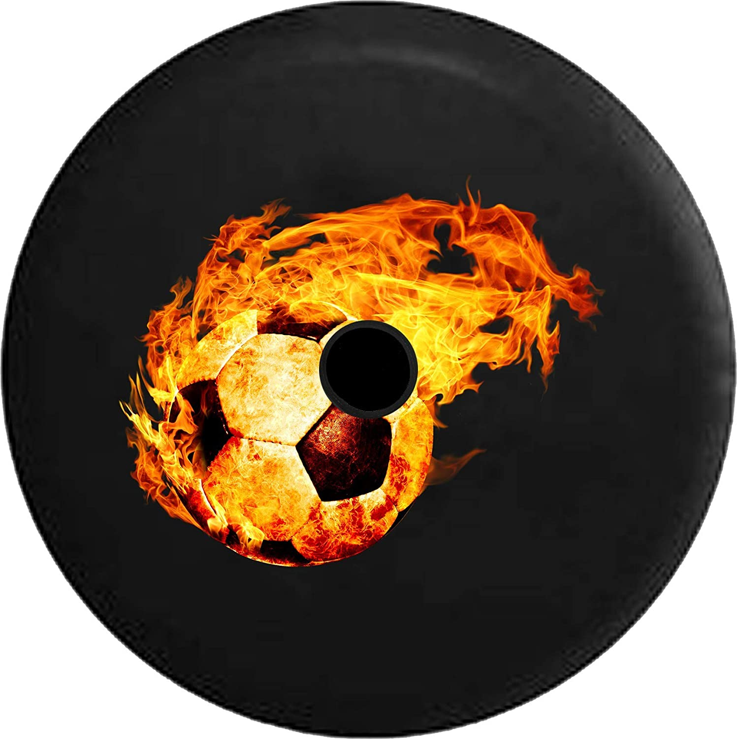 Pike Outdoors JL Series Spare Tire Cover Backup Camera Hole Jeep Fire Flames Orange Red Black 32 in