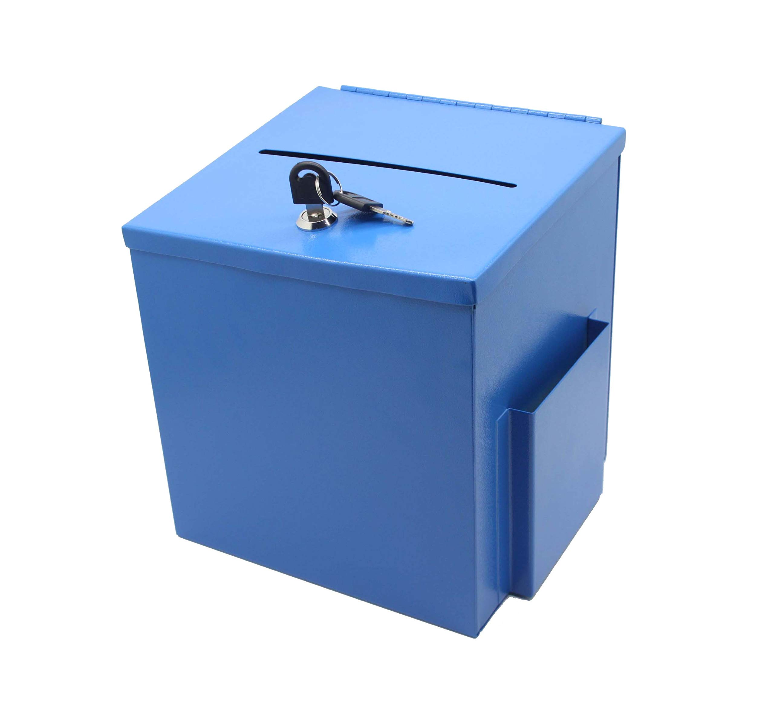 Blue Metal Donation Box Suggestion Box 10918-BLUE by FixtureDisplays