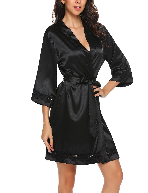 Unibelle Donna Vestaglia e Kimono Raso Scollo a V Manica a 3/4 Camicia da Notte Corto Pigiama da Notte Nightdress in Pizzo S-XXL *COK007815