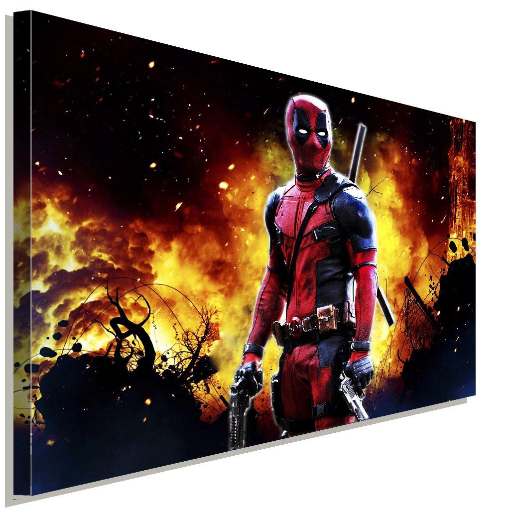 Deadpool Leinwandbild LaraArt Bilder Mehrfarbig Wandbild 100 x 70 cm