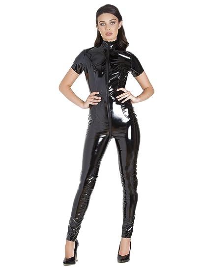 3abdae5acb Honour Libertine Short-Sleeved PVC Catsuit Black  Amazon.co.uk  Clothing