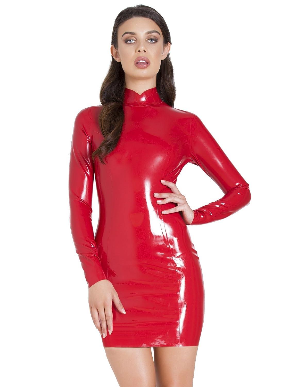 f67d1f1eb45a Honour Infernal Goddess Latex Dress Red  Amazon.co.uk  Clothing