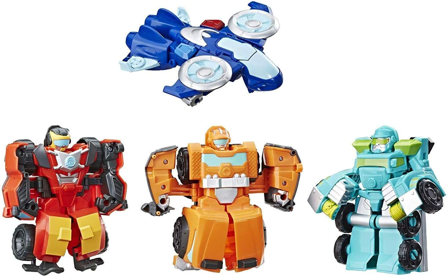 "Playskool Heroes Transformers Rescue Bots Academy Rescue Team Pack, 4 Collectible 4.5"" Converting Action Figures, Toys for Kids Ages 3 & Up, Brown (E5099)"