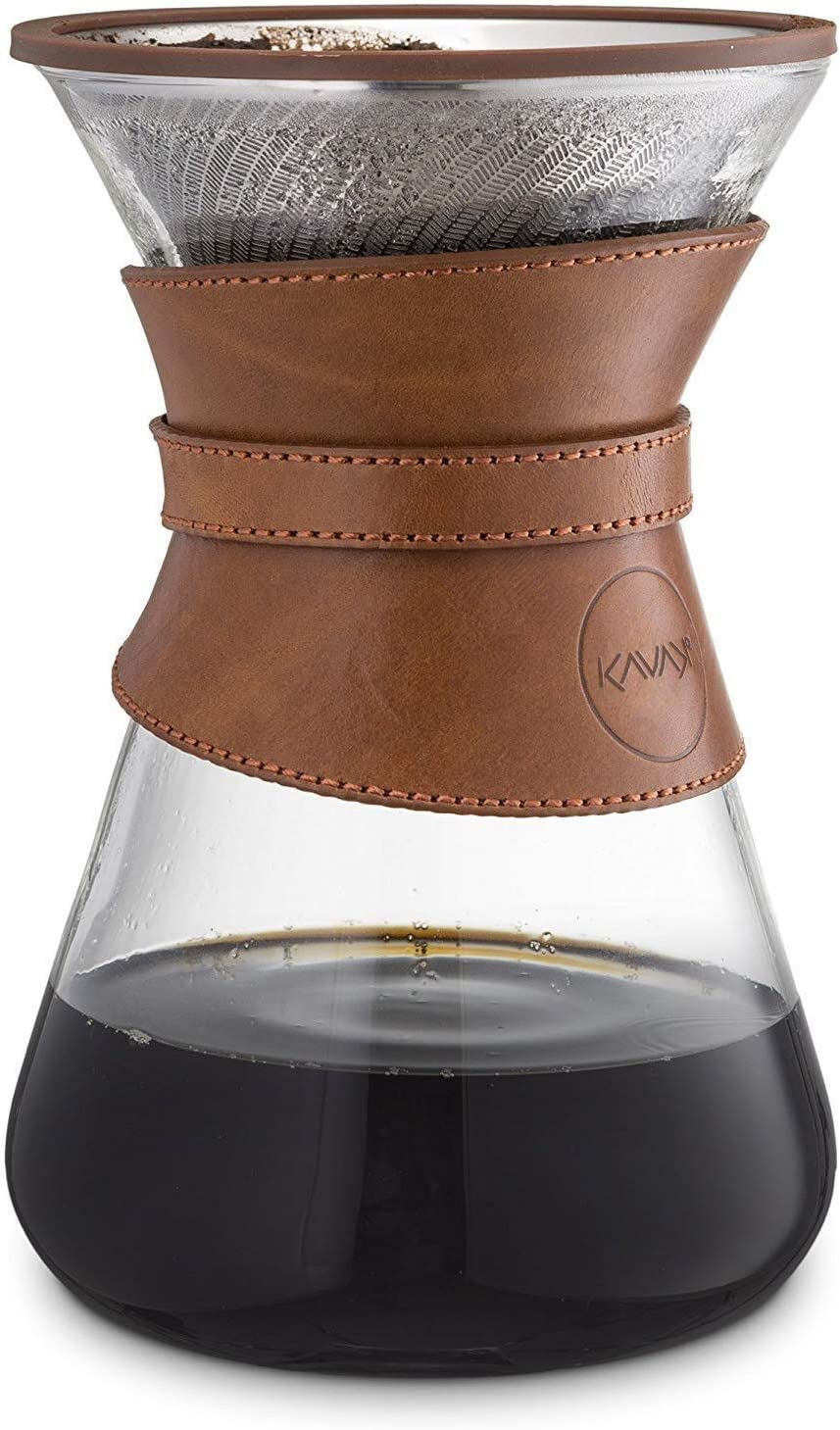 Kavako Pour Over Coffee Maker with Reusable Stainless Steel Drip Filter, 37 oz (7-Cup) Glass Carafe and Lid, Leather Collar Holder
