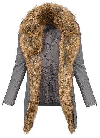 Damen Kunstleder Mantel Bikerjacke lang warm Teddyfell Winterjacke S-XL D-366   Amazon.de  Bekleidung 4a93d7e535
