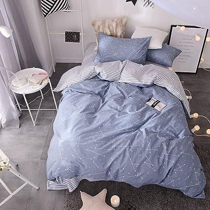 BuLuTu Space Constellation Kids Bedding Duvet Cover Set Full Blue For Boys  Girls,ON SALE