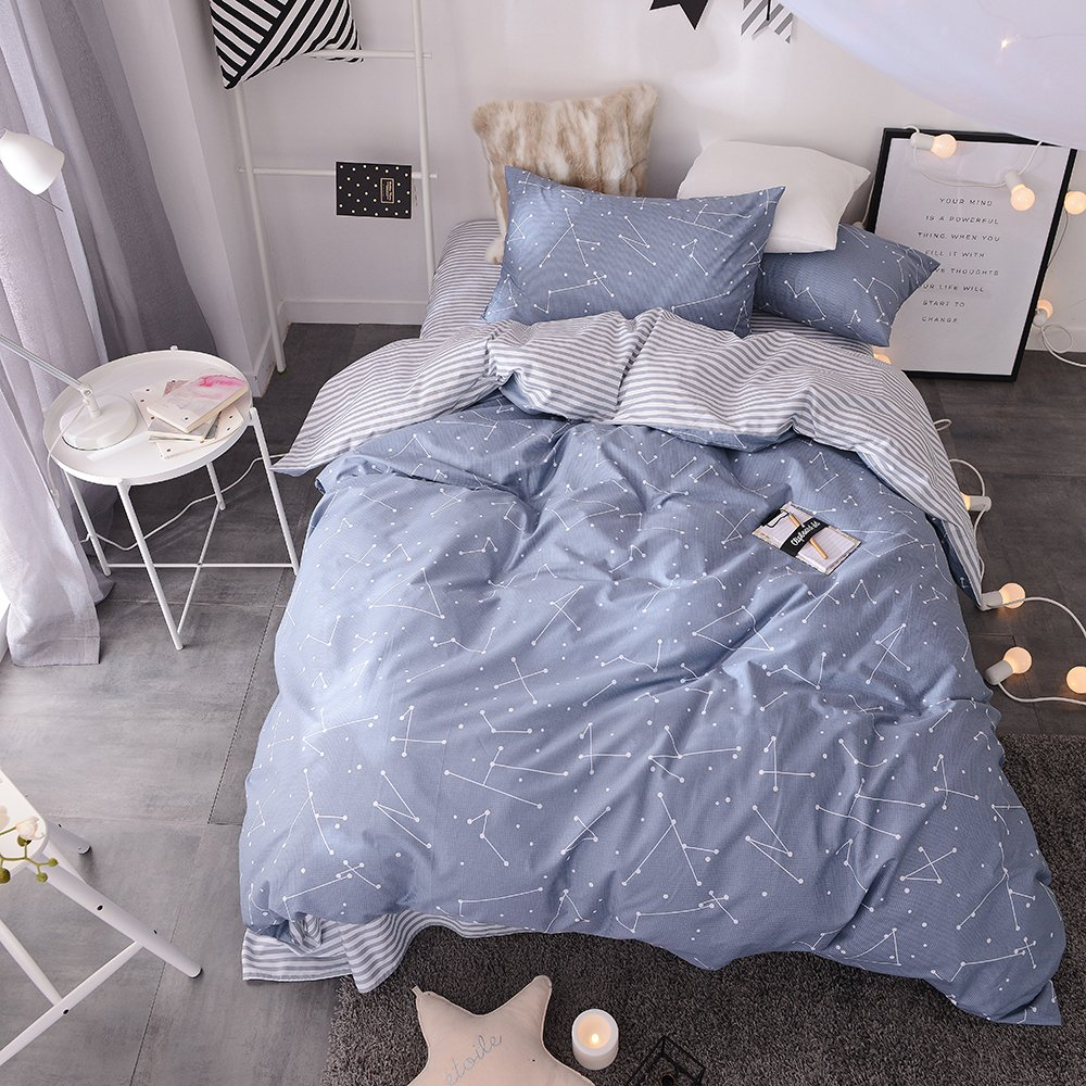 BuLuTu Space Constellation Kids Bedding Duvet Cover Set Full Blue For Boys Girls,ON SALE Reversible Premium Cotton Hotel Striped Bedroom Bedding Sets Queen Comforter Cover Zipper Closure,NO FILLING