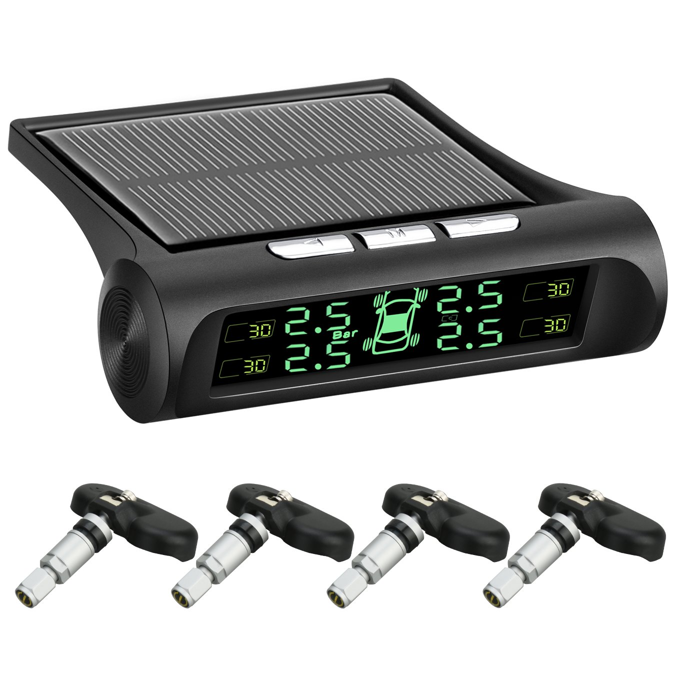 RoadRover Auto TPMS Tire Pressure Monitor System, Digital Tpms System, Solar Power Wireless LCD Display,Tire Pressure Gauge with 4 Internal Sensors for Home Car #T18 (Black)