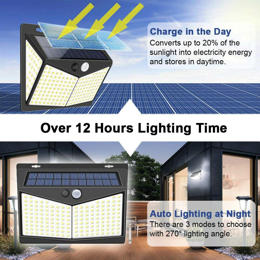 WZYGYDEF L/ámpara De Pared De Energ/ía Solar Al Aire Libre Sensor De Movimiento Inundaci/ón De Seguridad Luz De Jard/ín,208 LED-1Pcs