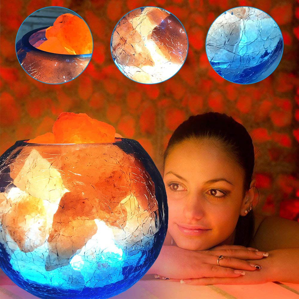 LUCKSTAR Natural Himalayan Crystal Salt Lamp- USB Natural Salt Crystal Chunks with Stripe Indoor Decoration Dimmer Switch Soft Warm Healthy Negative Ion Air Purifying Lamp,Table Lamp Bedroom Lava Lamp by LUCKSTAR (Image #2)