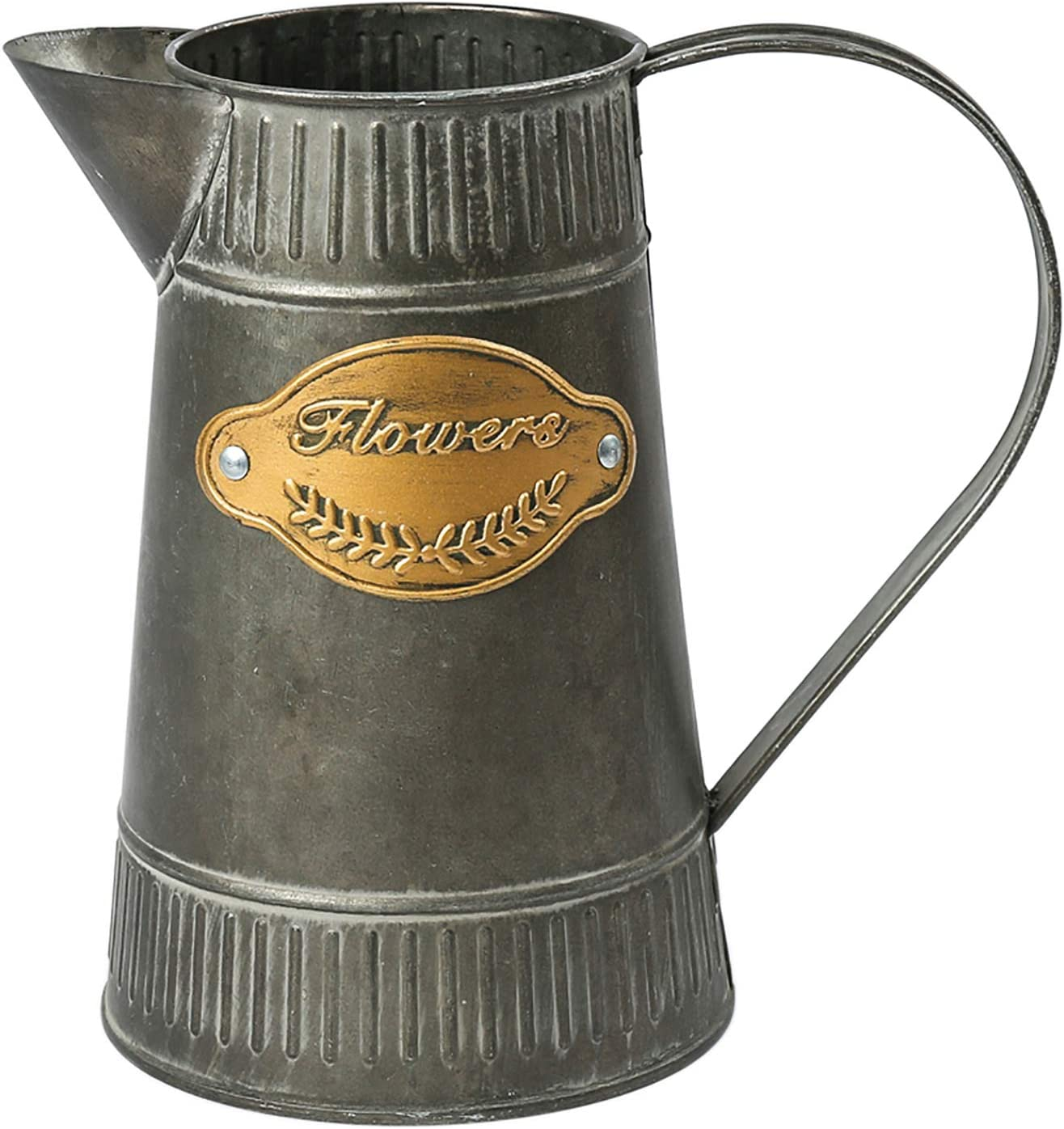 WHHOME Shabby Chic Watering Can Galvanized Finish Metal Vase Country Rustic Pitcher Primitive Jug Decorative Flower Holder, 7.2