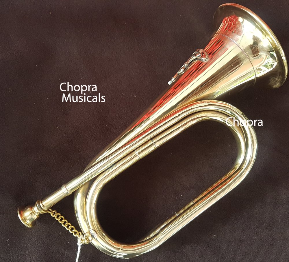 Chopra Bugle Civil War Era Solid Brass Military Cavalry Horn with Batch Chopra Musicals 6037