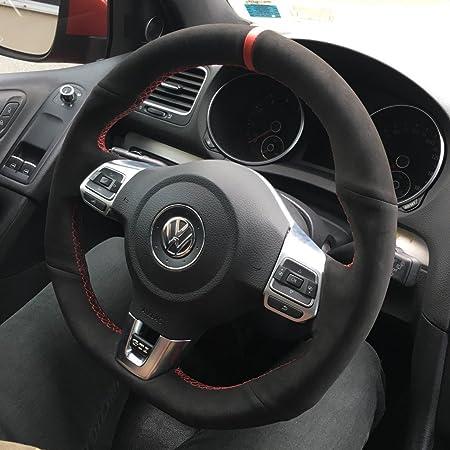 Suede GTI Clubsport Steering Wheel Cover for VW Golf MK6 Scirocco Polo R  GTI GLI 2009 + DSG Models