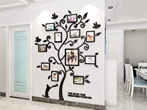 KINBEDY 3D Acrylic Tree Wall Stickers Photo Frames Family Tree Wall Decal Easy to Install &Apply DIY Photo Gallery Frame Decor Sticker Home Art Decor, Black.