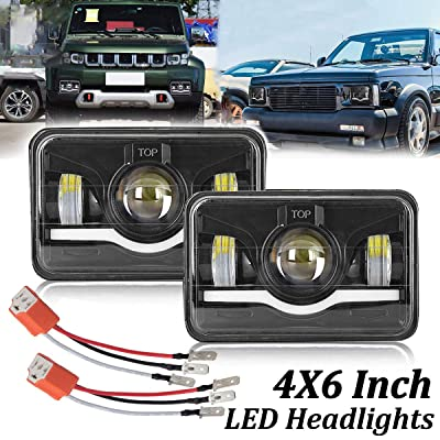 4X6 Inch LED Headlights Dot Approved H4 2PCS 45W High Low Sealed Beam Rectangular LED Headlight Projector with DRL Angel Eyes Headlamp Replace H4651 H4652 H4656 H4666 H6545 H4668 H4642: Automotive