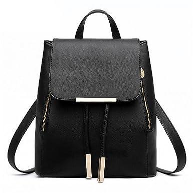 Richard Nguyen Women Backpack Pu Leather Mochila Escolar School Bags For Teenagers Girls Black 28X24X14Cm
