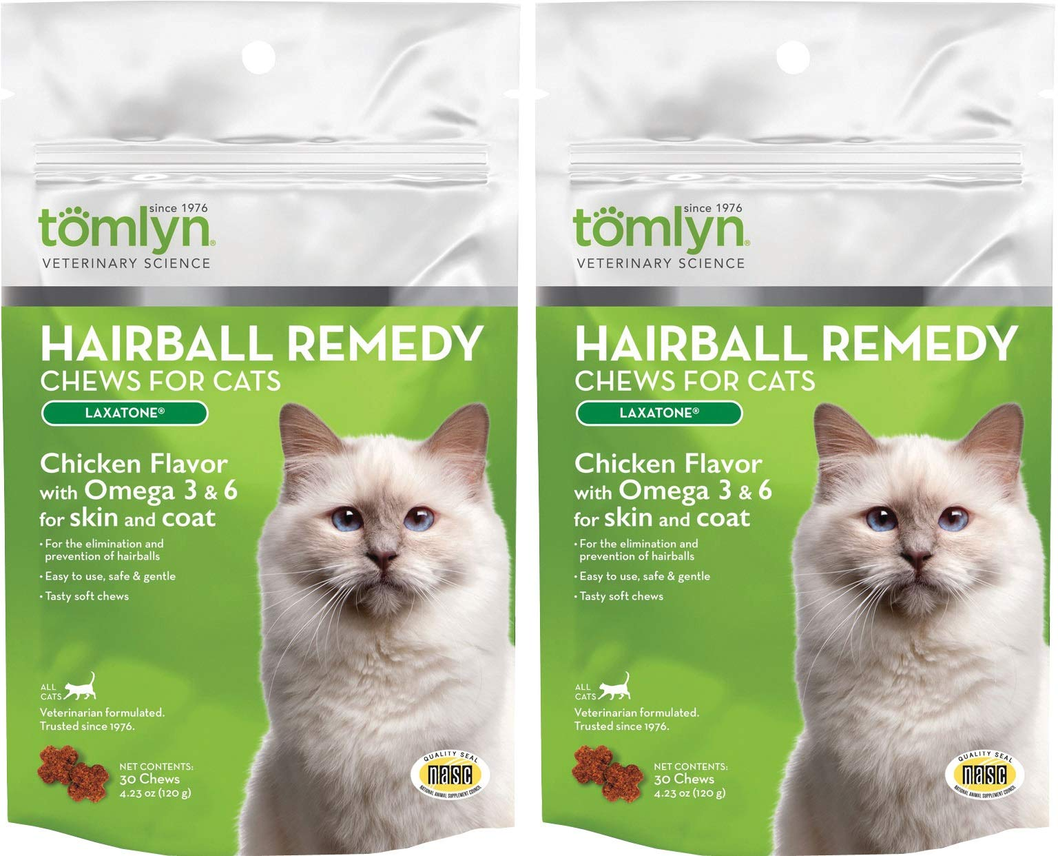 (2 Pack) TOMLYN Laxatone Soft Chews Hairball Formula Cat Treat (60 Count / 3.17oz / 90g Per Pack) by TOMLYN