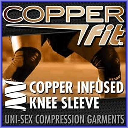 """3aec34ba18 AS SEEN ON TV COPPER FIT KNEE INFUSED COMPRESSION SLEEVE BRACE (M  15.5""""-"""