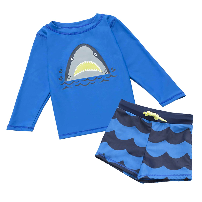 7-Mi Boys Swimsuit, Kids 50+ UPF Rash Guard Bathing Suit Swimwear Set -1-5 Year