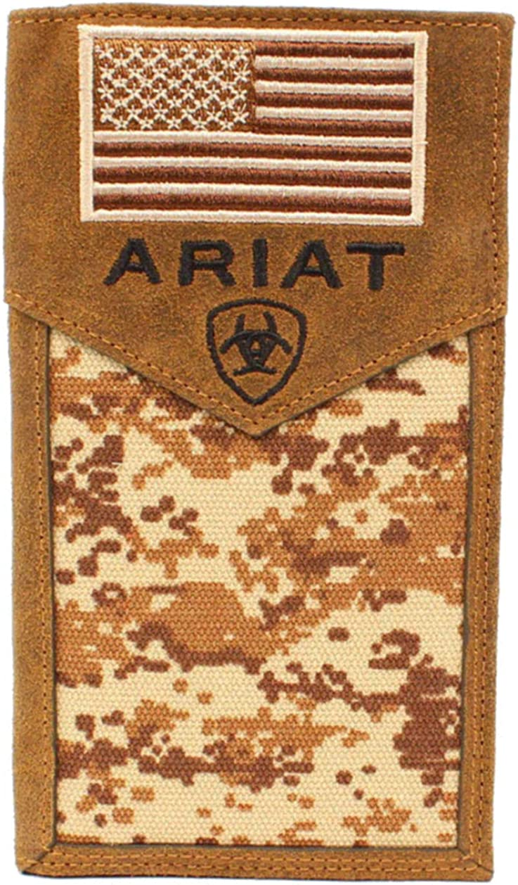 Ariat Western Mens Wallet Leather Trifold Embroidered USA Flag Camo A3536644
