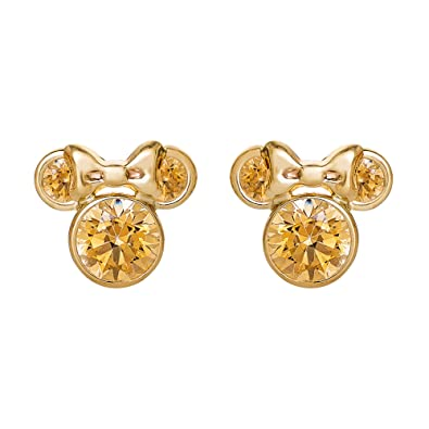 e44c885a8 Image Unavailable. Image not available for. Color: Disney Minnie Mouse 10K  Gold Birthstone Stud Earrings, November Amber Orange Cubic Zirconia;  Mickey's
