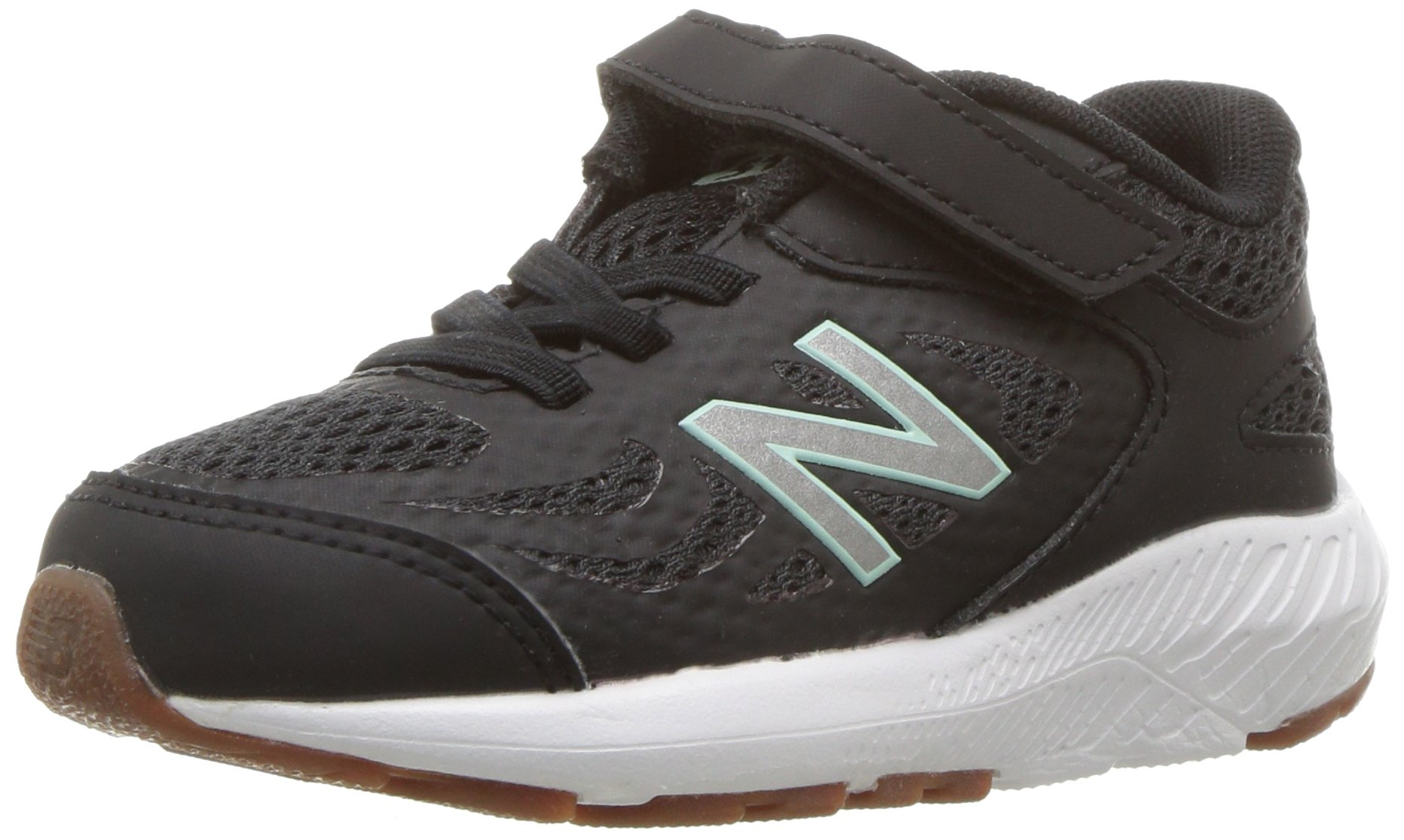 New Balance Girls' 519v1 Hook and Loop Running Shoe Black/Seafoam 2 M US Infant
