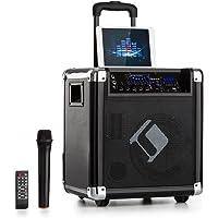 auna Moving 80 • PA-Anlage • Karaoke-Anlage • 100 W max. • XMR-Bass-Technology • VHF-Mikro • USB • SD-Slot • Bluetooth • AUX • mobil • integrierter Akku • schwarz